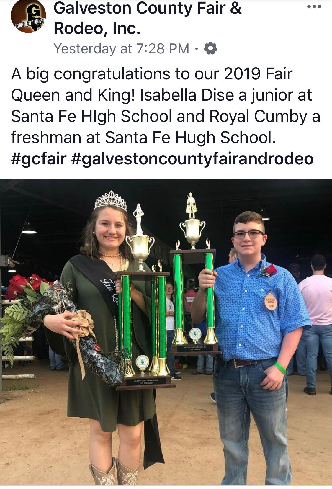 Isabella Dise and Royal Cumby are the 2019 Galveston County Fair and Rodeo Queen and King
