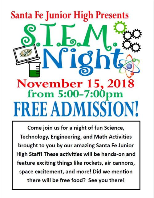 STEM Night:  Let us know if your student will attend! Click on the following link to RSVP: https://tinyurl.com/sfjhSTEM