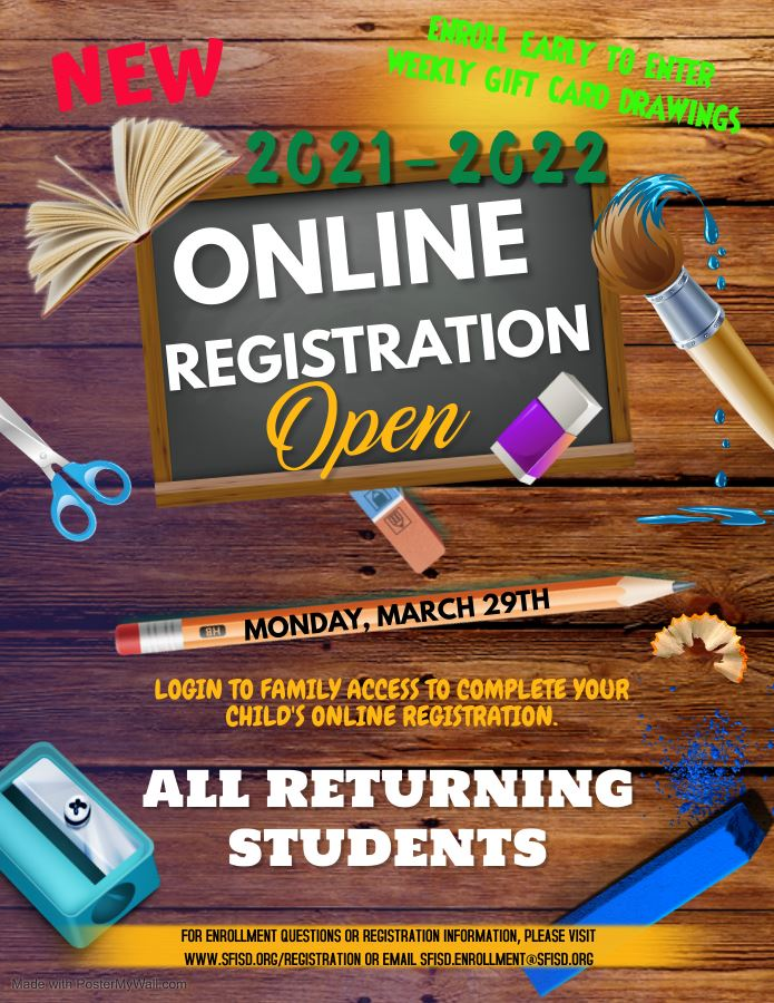 2021 - 2022 Online Registration is Open for All Returning Students
