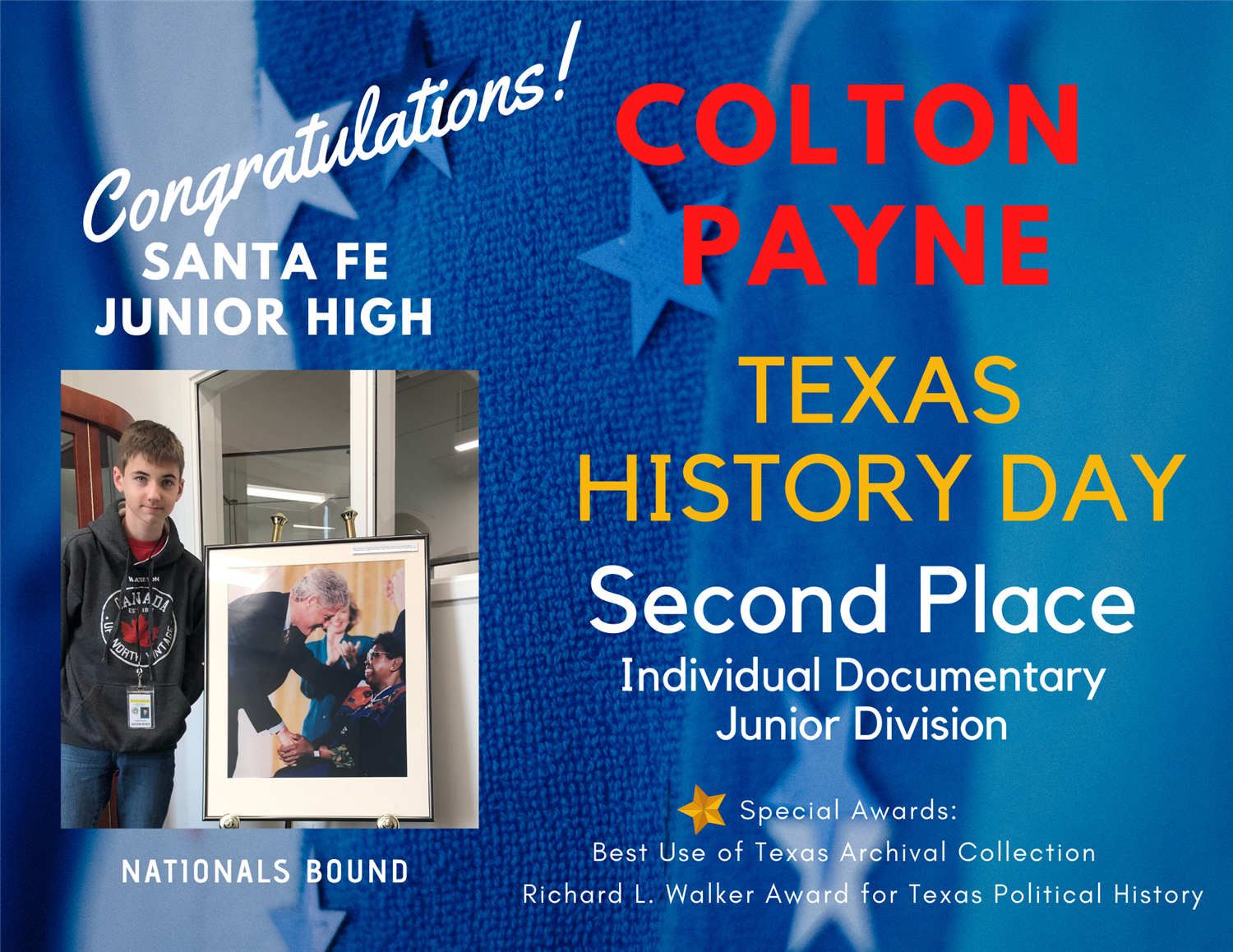 SFJH Student Colton Payne place at Texas History Day