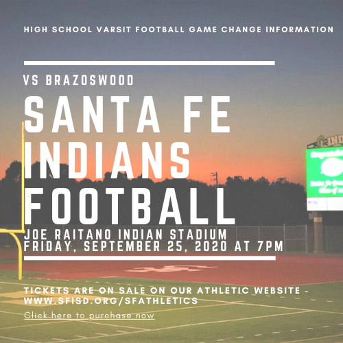 High School Varsity Football Game Change Information