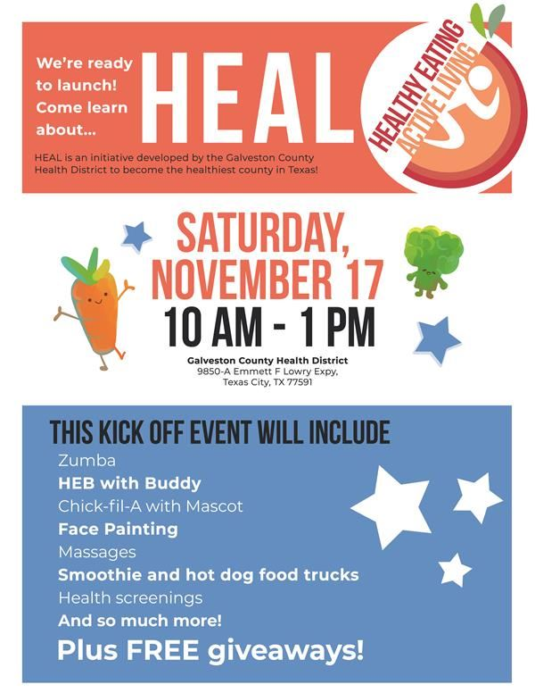 Galveston Co Health District HEAL Event Flyer
