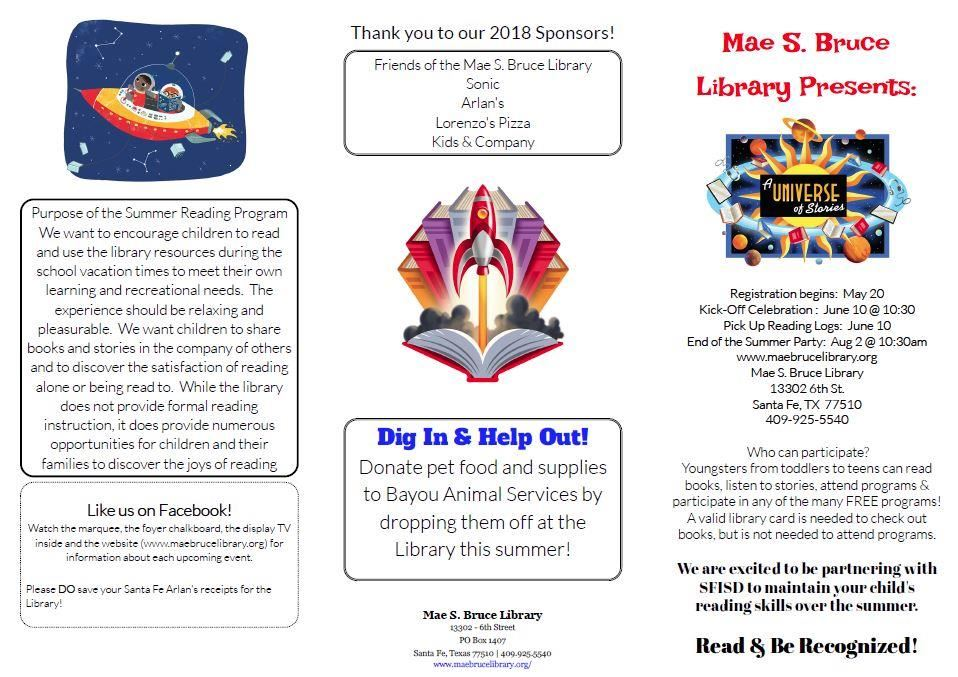 Mae S. Bruce Summer Reading Program Info