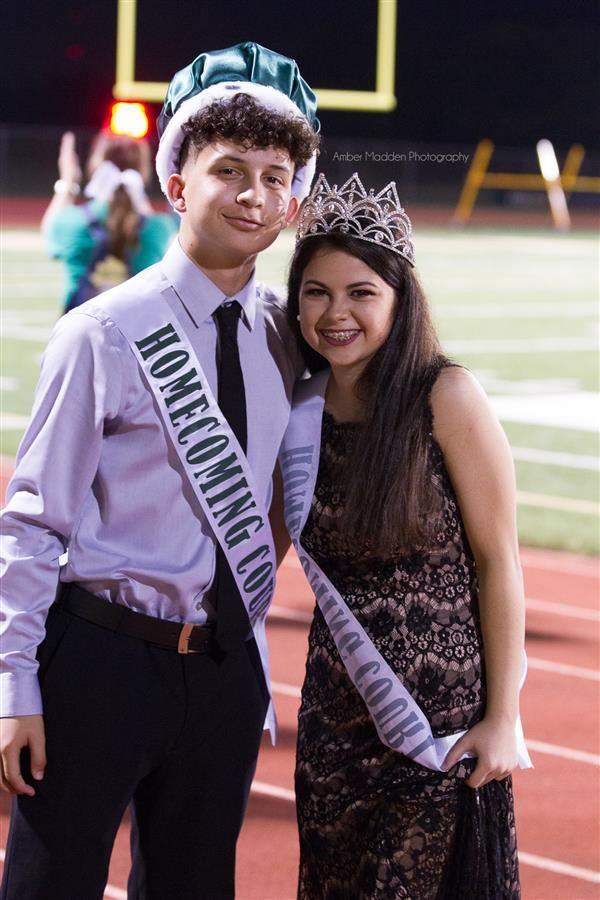 Congratulations to Santa Fe High School seniors, Marcus Banda and Sara Wesley as they were crowned 2018 Homecoming King and Queen on Friday night! #SantaFeStrong (Photo courtesy of Amber Madden Photography)