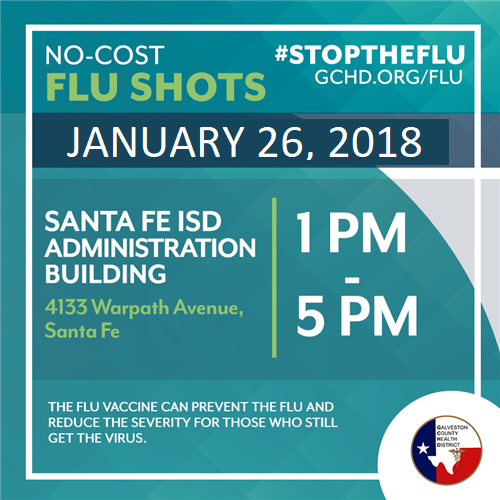 **To be re-scheduled due to inclement weather**  Galveston County Health District To Provide Free Flu Immunizations for SFISD Employees and Community