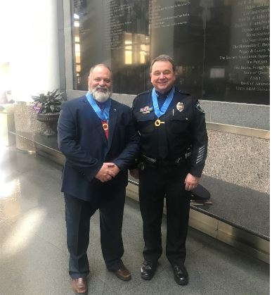 On Thursday, February 13, 2020, at the George H. W. Bush Presidential Library Center, Lifesaving Medallions were awarded to Santa Fe ISD Officer John Barnes and Assistant Chief, Gary Forward. Congratulations to these two outstanding officers!