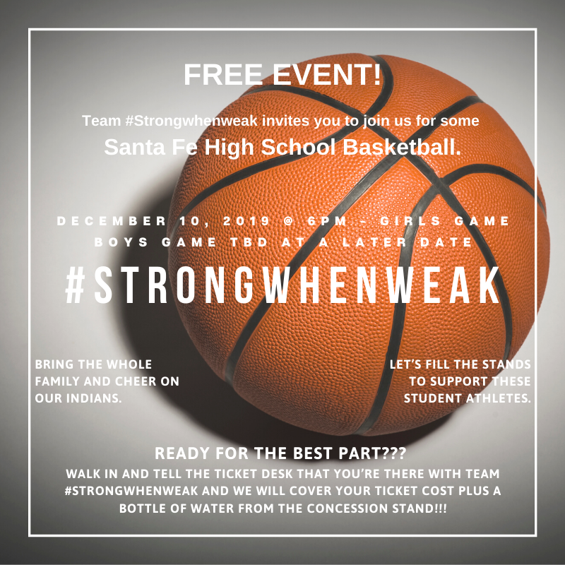 **ATTENTION** The Santa Fe High School Boys Basketball Free Event for tonight, Tuesday, December 3, 2019, hosted by Team #STRONGWHENWEAK has been postponed to a later date to be determined.